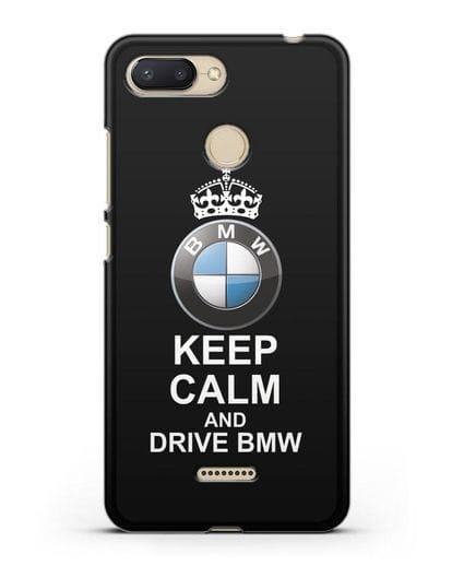 Чехол с надписью Keep Calm and Drive BMW силикон черный для Xiaomi Redmi 6