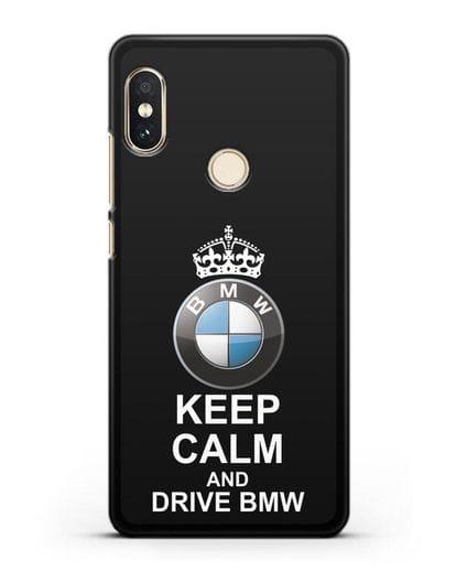 Чехол с надписью Keep Calm and Drive BMW силикон черный для Xiaomi Redmi 6 Pro