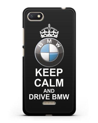 Чехол с надписью Keep Calm and Drive BMW силикон черный для Xiaomi Redmi 6A