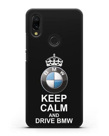 Чехол с надписью Keep Calm and Drive BMW силикон черный для Xiaomi Redmi 7