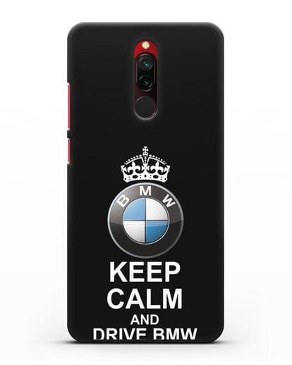 Чехол с надписью Keep Calm and Drive BMW силикон черный для Xiaomi Redmi 8