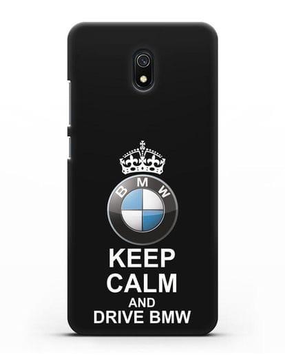 Чехол с надписью Keep Calm and Drive BMW силикон черный для Xiaomi Redmi 8A