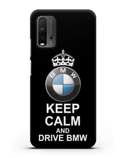 Чехол с надписью Keep Calm and Drive BMW силикон черный для Xiaomi Redmi 9 Power