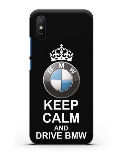 Чехол с надписью Keep Calm and Drive BMW силикон черный для Xiaomi Redmi 9A