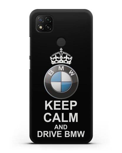 Чехол с надписью Keep Calm and Drive BMW силикон черный для Xiaomi Redmi 9С