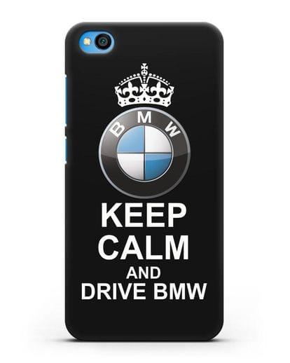 Чехол с надписью Keep Calm and Drive BMW силикон черный для Xiaomi Redmi Go