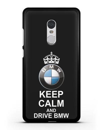Чехол с надписью Keep Calm and Drive BMW силикон черный для Xiaomi Redmi Note 4X