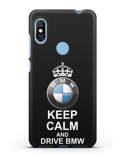 Чехол с надписью Keep Calm and Drive BMW силикон черный для Xiaomi Redmi Note 6 Pro