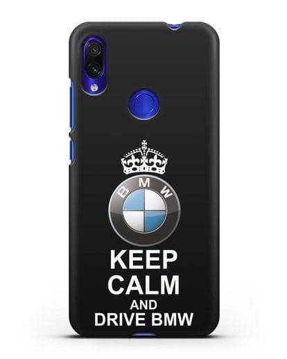 Чехол с надписью Keep Calm and Drive BMW силикон черный для Xiaomi Redmi Note 7
