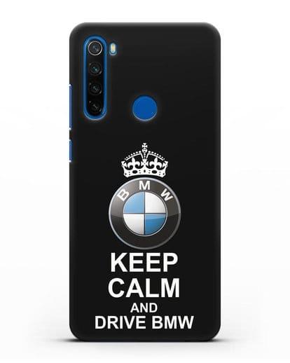 Чехол с надписью Keep Calm and Drive BMW силикон черный для Xiaomi Redmi Note 8