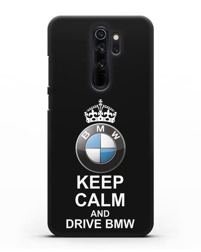Чехол с надписью Keep Calm and Drive BMW силикон черный для Xiaomi Redmi Note 8 Pro