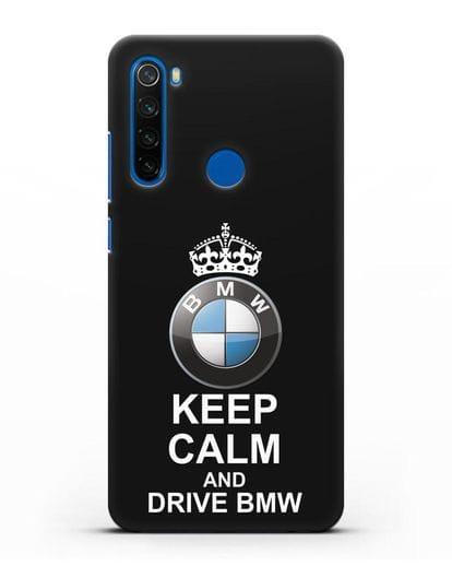 Чехол с надписью Keep Calm and Drive BMW силикон черный для Xiaomi Redmi Note 8T