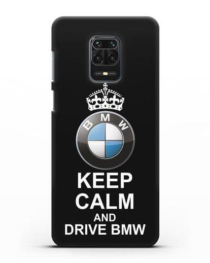 Чехол с надписью Keep Calm and Drive BMW силикон черный для Xiaomi Redmi Note 9 Pro