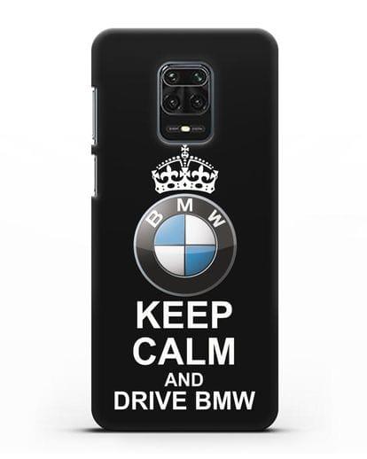 Чехол с надписью Keep Calm and Drive BMW силикон черный для Xiaomi Redmi Note 9S