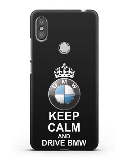 Чехол с надписью Keep Calm and Drive BMW силикон черный для Xiaomi Redmi S2
