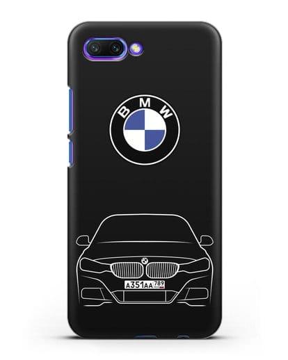 Чехол BMW 3 с автомобильным номером силикон черный для Honor 10