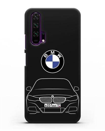 Чехол BMW 3 с автомобильным номером силикон черный для Honor 20 Pro