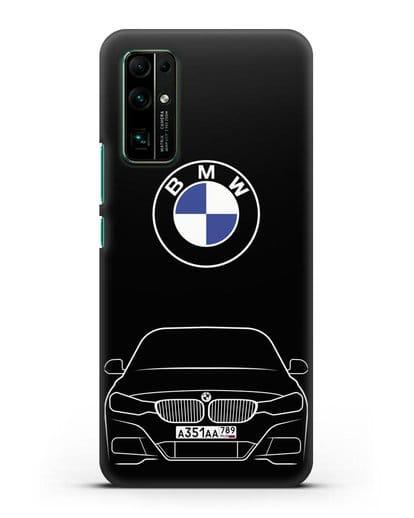 Чехол BMW 3 с автомобильным номером силикон черный для Honor 30
