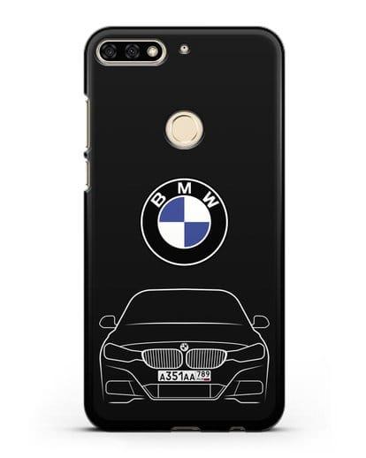 Чехол BMW 3 с автомобильным номером силикон черный для Honor 7C