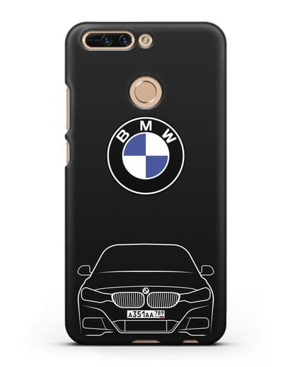 Чехол BMW 3 с автомобильным номером силикон черный для Honor 8 Pro