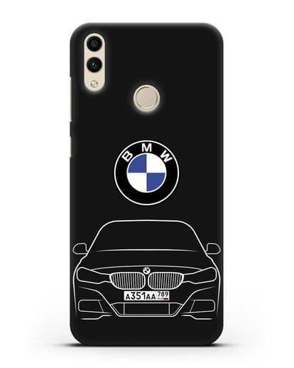 Чехол BMW 3 с автомобильным номером силикон черный для Honor 8C
