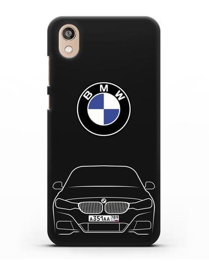 Чехол BMW 3 с автомобильным номером силикон черный для Honor 8S