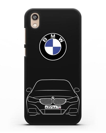Чехол BMW 3 с автомобильным номером силикон черный для Honor 8S Prime