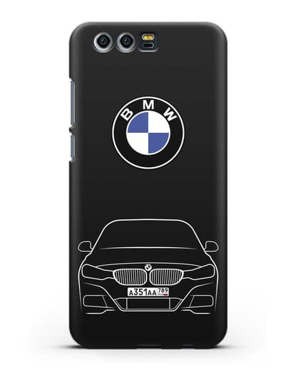 Чехол BMW 3 с автомобильным номером силикон черный для Honor 9