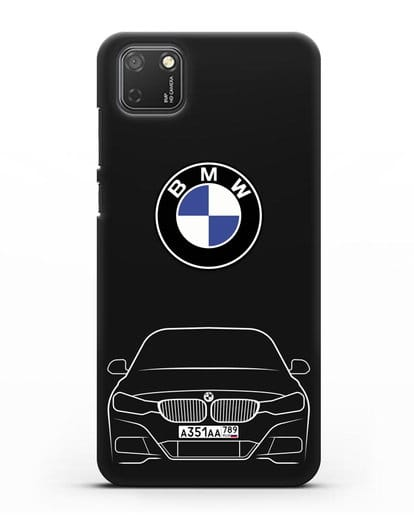 Чехол BMW 3 с автомобильным номером силикон черный для Honor 9S