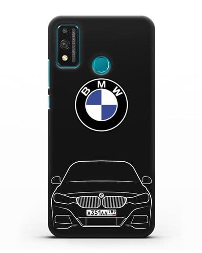 Чехол BMW 3 с автомобильным номером силикон черный для Honor 9X lite