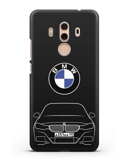 Чехол BMW 3 с автомобильным номером силикон черный для Huawei Mate 10 Pro