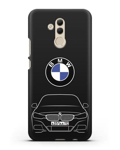 Чехол BMW 3 с автомобильным номером силикон черный для Huawei Mate 20 Lite