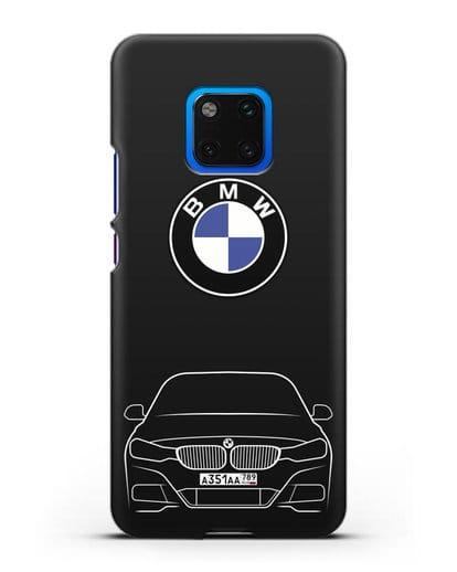 Чехол BMW 3 с автомобильным номером силикон черный для Huawei Mate 20 Pro
