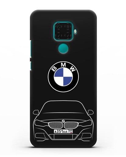 Чехол BMW 3 с автомобильным номером силикон черный для Huawei Mate 30 Lite