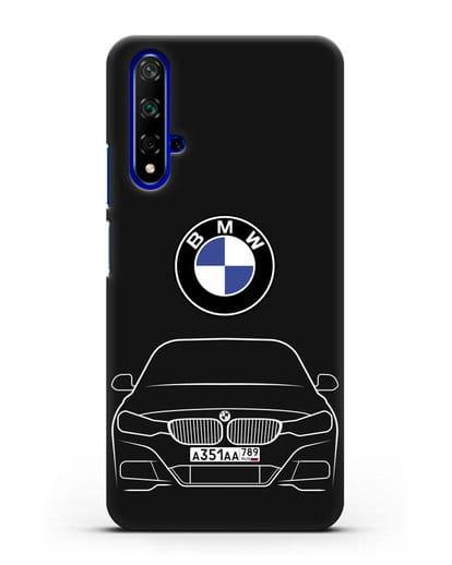 Чехол BMW 3 с автомобильным номером силикон черный для Huawei Nova 5T