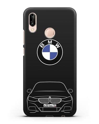 Чехол BMW 3 с автомобильным номером силикон черный для Huawei P20 Lite