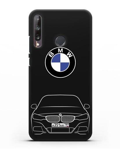 Чехол BMW 3 с автомобильным номером силикон черный для Huawei P40 lite E
