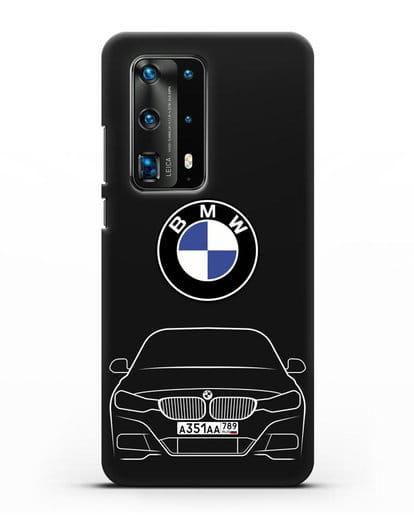 Чехол BMW 3 с автомобильным номером силикон черный для Huawei P40 Pro