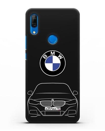 Чехол BMW 3 с автомобильным номером силикон черный для Huawei P Smart Z