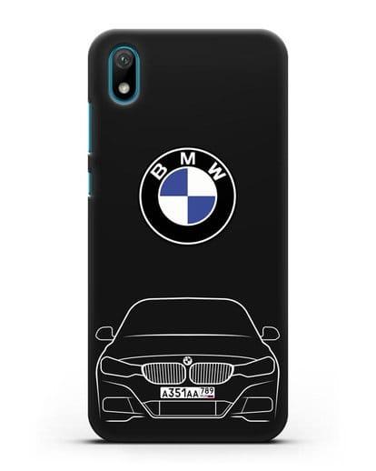 Чехол BMW 3 с автомобильным номером силикон черный для Huawei Y5 2019