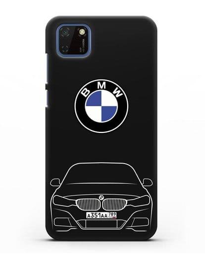 Чехол BMW 3 с автомобильным номером силикон черный для Huawei Y5P