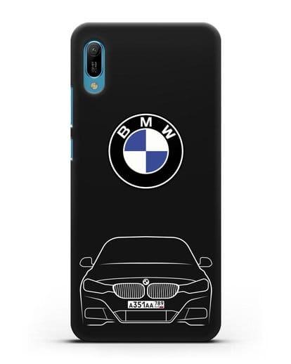Чехол BMW 3 с автомобильным номером силикон черный для Huawei Y6 2019