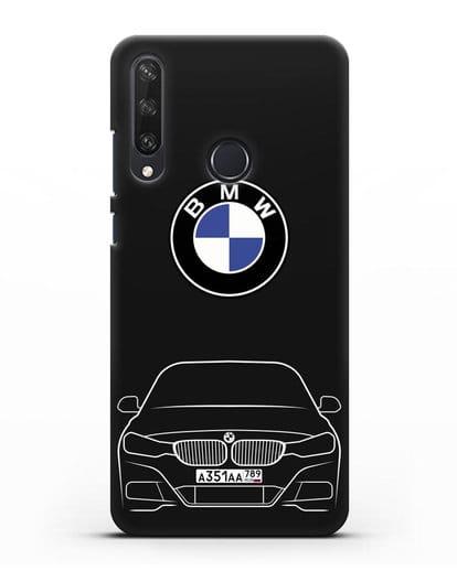 Чехол BMW 3 с автомобильным номером силикон черный для Huawei Y6P