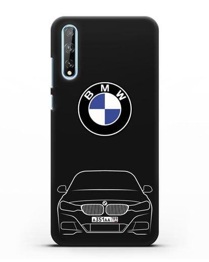Чехол BMW 3 с автомобильным номером силикон черный для Huawei Y8P