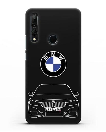 Чехол BMW 3 с автомобильным номером силикон черный для Huawei Y9 Prime 2019