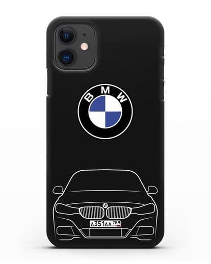 Чехол BMW 3 с автомобильным номером силикон черный для iPhone 11