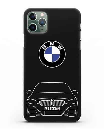 Чехол BMW 3 с автомобильным номером силикон черный для iPhone 11 Pro Max