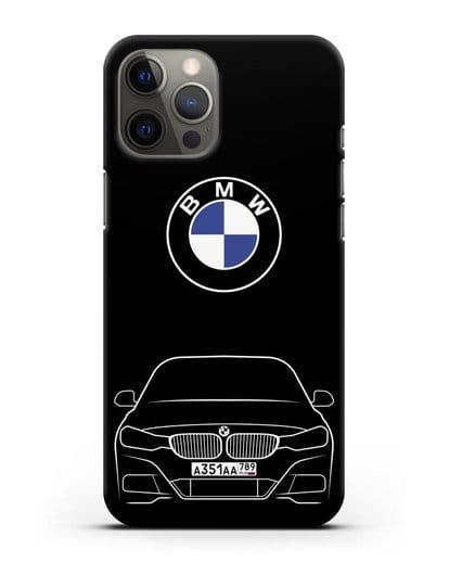 Чехол BMW 3 с автомобильным номером силикон черный для iPhone 12 Pro Max