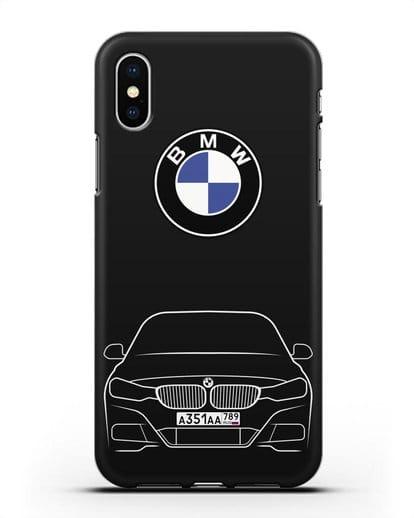 Чехол BMW 3 с автомобильным номером силикон черный для iPhone XS