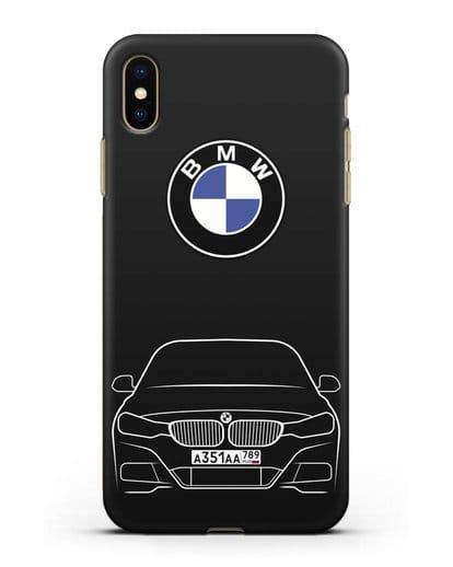 Чехол BMW 3 с автомобильным номером силикон черный для iPhone XS Max